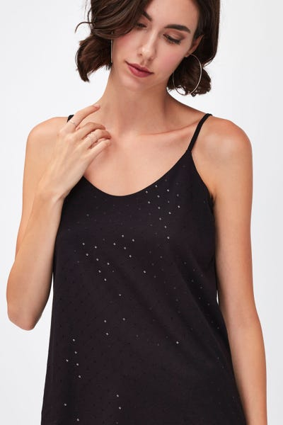 SEQUINED CAMISOLE CUTIL BLACK