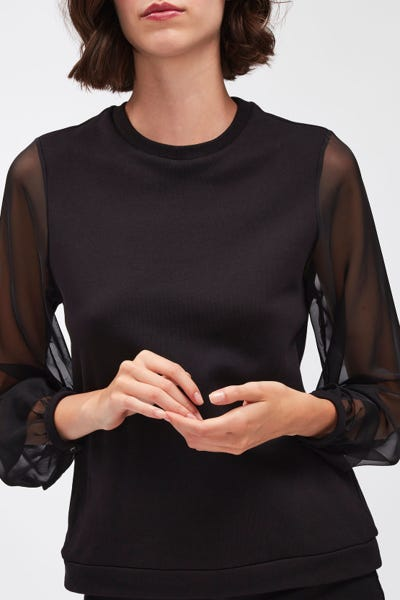 ORGANZA SWEATSHIRT COTTON VISCOSE BLACK