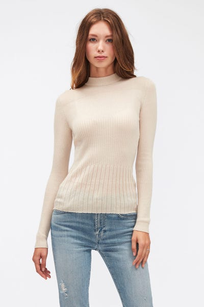 MOCK NECK SWEATER CASHMERE SILK BLEND SANDCASTLE