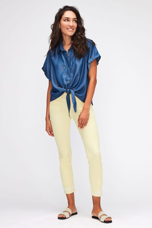 ROXANNE ANKLE COLORED LEFT HAND WITH TIE DYE HEM  YELLOW