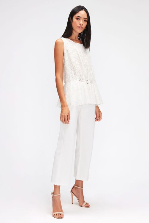 CROPPED ALEXA LEFT HAND PURE WHITE WITH RAW CUT FRAYED