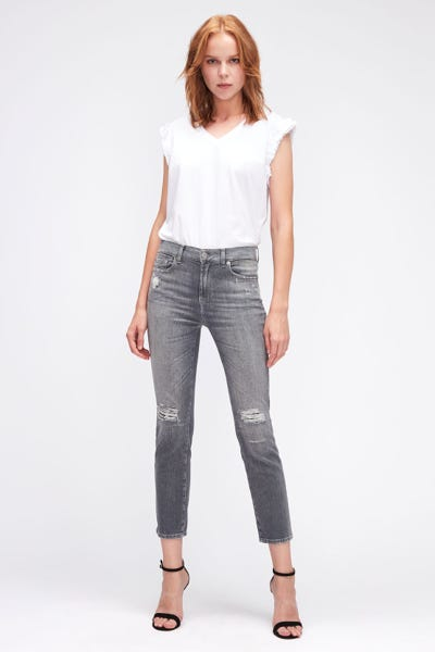 THE STRAIGHT CROP LEFT HAND REGAIN DISTRESSED
