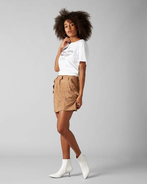 SKIRT SUEDE WHISKEY WITH RUFFLES