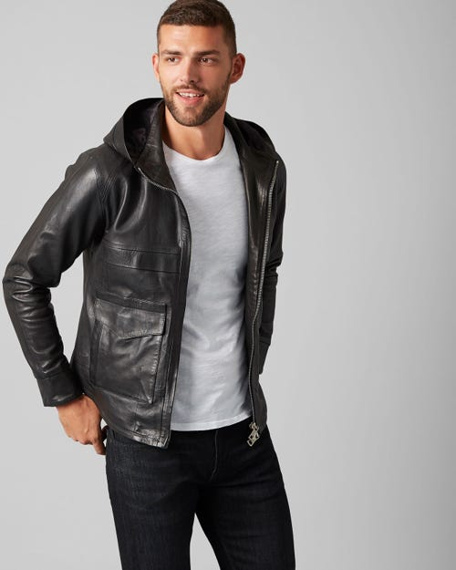 7 for all Mankind - HOODIE JACKET LEATHER PURE BLACK
