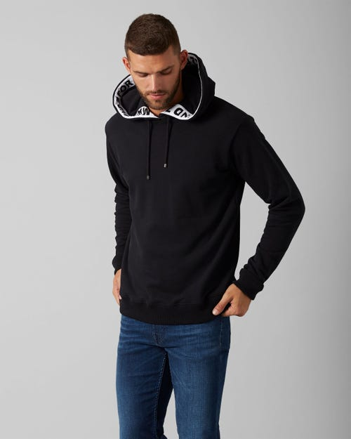 7 For All Mankind - Hoodie Sweat Tape Cotton Logo Pure Black