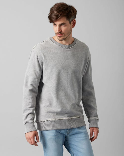 CREW NECK SWEAT COTTON RAW EDGE GREY MELANGE