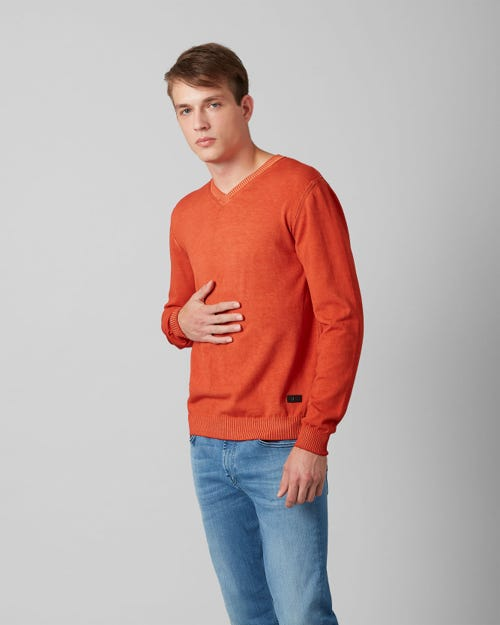 7 For All Mankind - V-Neck Knit Cotton Raw Edge Tiger Orange