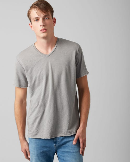 V-NECK T-SHIRT COTTON RAW EDGE GREY MELANGE