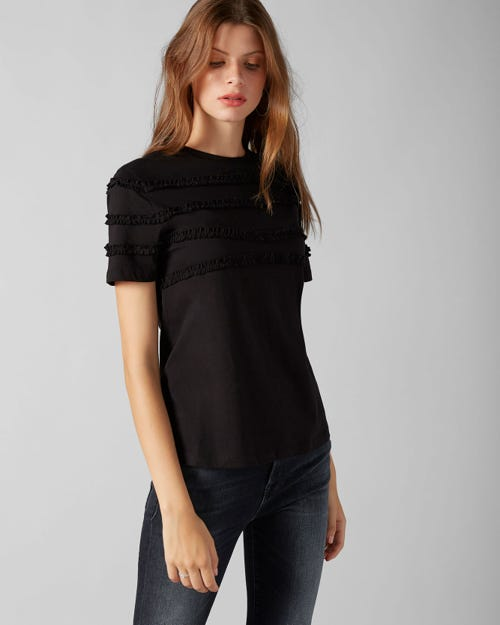 SHORT SLEEVE TEE JERSEY BLACK FRILLY RUFFLED