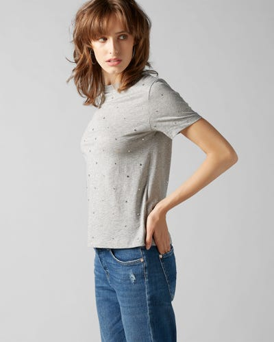 7 For All Mankind - Short Sleeve Tee Cotton Grey With Rhinestones