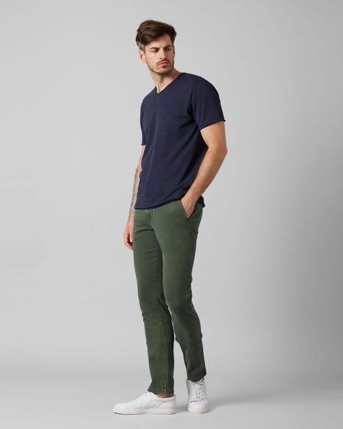 7 for all Mankind - EXTRA SLIM CHINO LUXE PERFORMANCE SATEEN AVOCADO GREEN