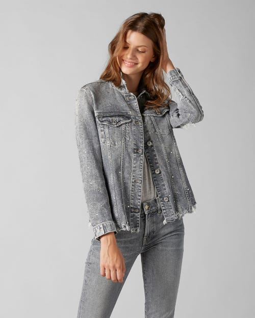 7 For All Mankind - Oversize Modern Trucker Vintage Highland With All Over Rhinestones