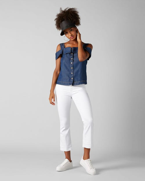 7 For All Mankind - Cropped Boot Unrolled Slim Illusion Pure White