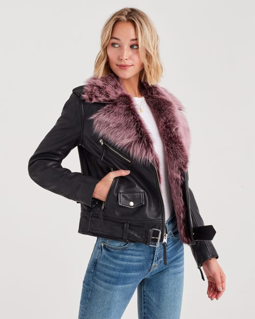 REMOVABLE SHEARLING BIKER JACKET BLACK