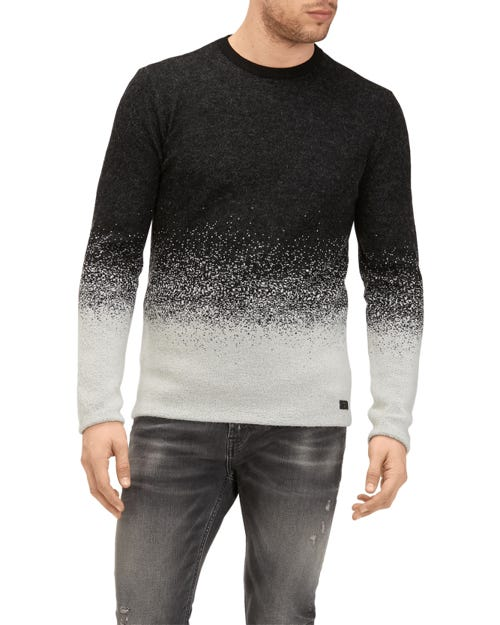 CREW NECK KNIT DEGRADEE MOHAIR BLACK AND GREY