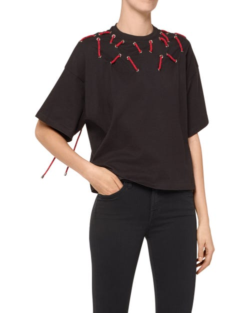 TOP COTTON EYELET AND STRING BLACK