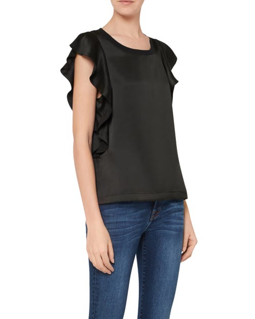 RUFFLE TANK SATIN BLACK