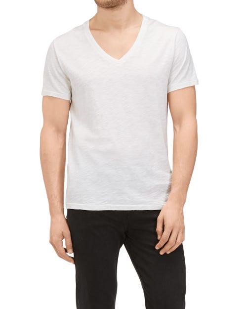 V-NECK T-SHIRT SLUB WHITE