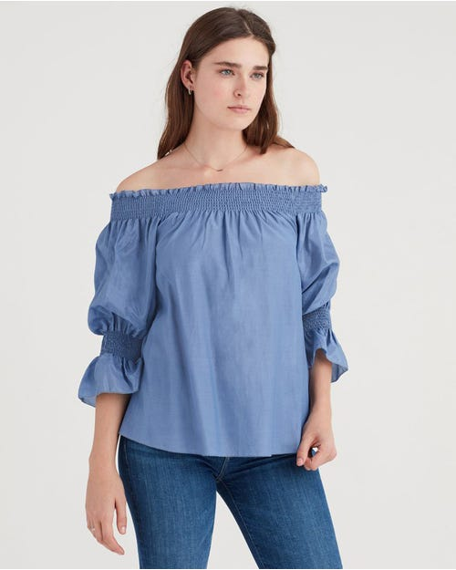 OFF SHOULDER SMOCK TOP PERSIAN BLUE