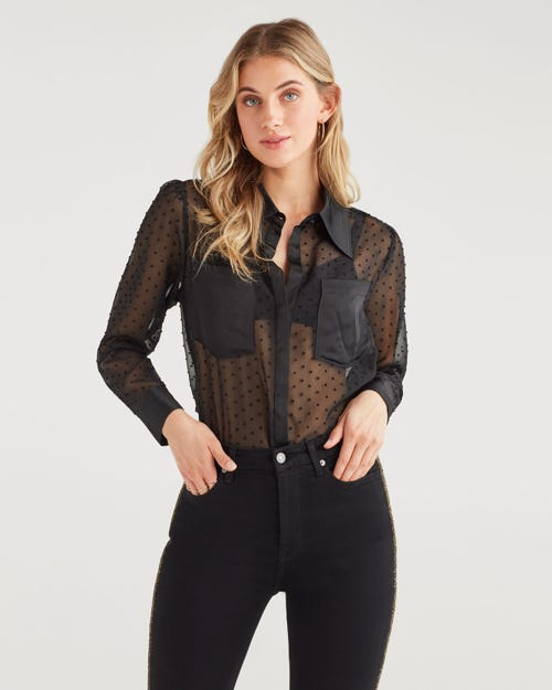 PATCH PKT TIE NECK TOP JET BLACK