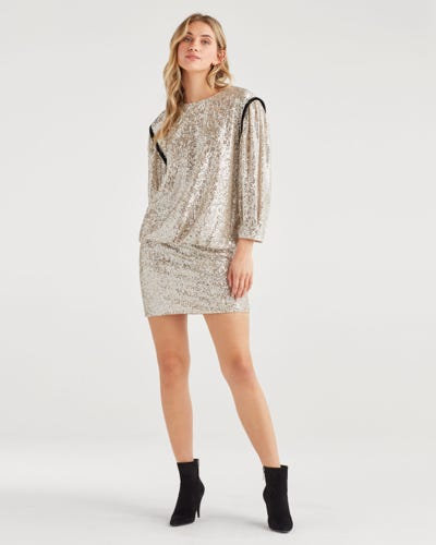 LONG SLEEVE SEQUIN SILVER DRESS WITH BLACK CONTRAST