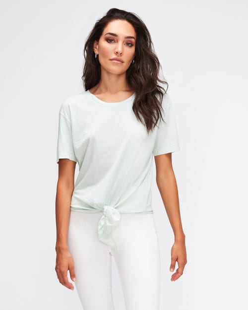 KNOTTED TOP CUTIL W/EMBROIDERY AQUA