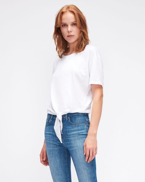 KNOTTED TOP CUTIL W/EMBROIDERY WHITE