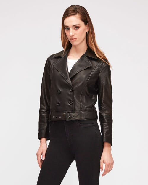 CROP BELTED JACKET LEATHER BLACK