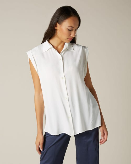 SLEEVELESS BUTTON UP SHIRT ACETATE SILK OFF WHITE