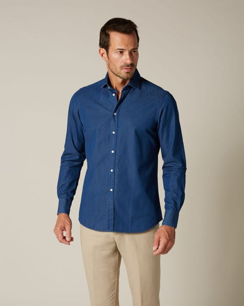 CUT AWAY COLLAR SHIRT INDIGO TWILL DARK BLUE