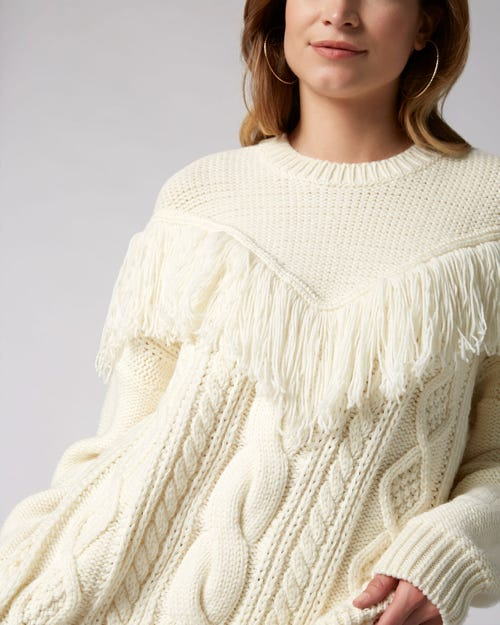 7 For All Mankind - Fringed Sweater Wool Champagne