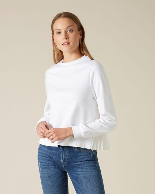 SWEATSHIRT COTTON MODAL PLEATED BACK WHITE