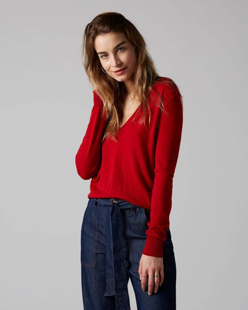 7 For All Mankind - Classic V-Neck Merino Red