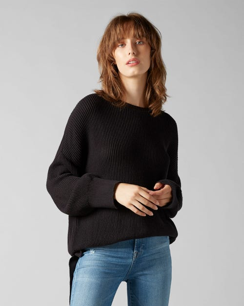 7 For All Mankind - Crew Neck Knit Cotton Wool Black With Coulisse