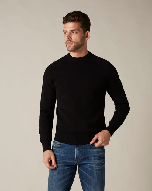 CREW NECK KNIT LUXE PERFORMANCE VISCOSE BLACK