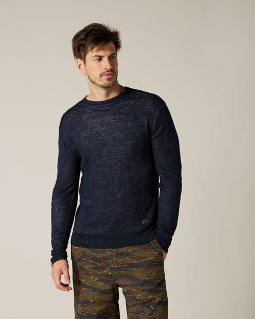 CREW NECK KNIT COTTON LINEN BI COLOR NAVY & GREY