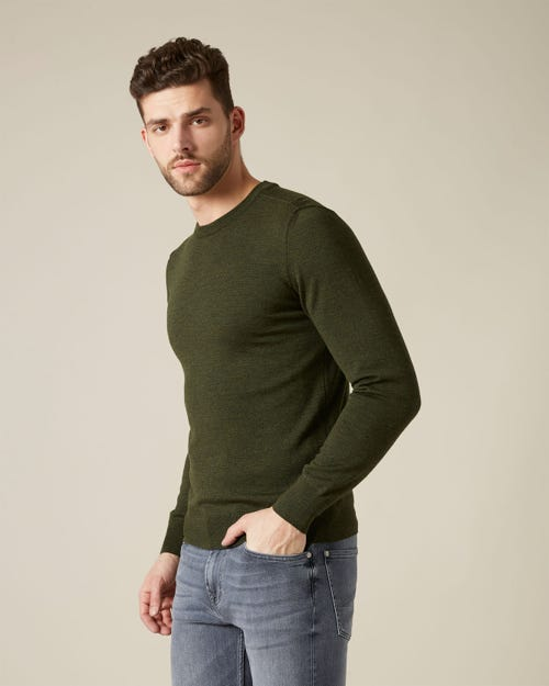 CREW NECK KNIT MERINO FOREST GREEN
