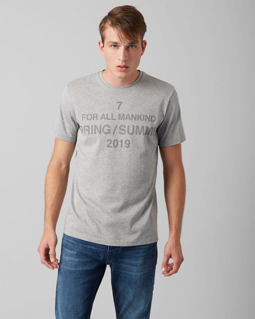7 For All Mankind - Graphic Tee Cotton Logo Grey Melange
