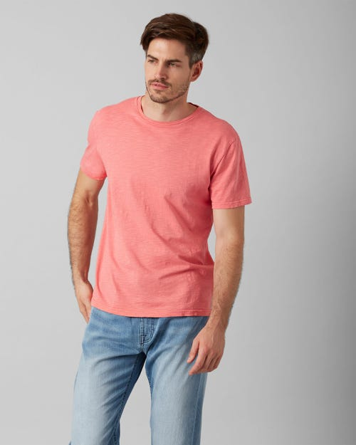 7 for all Mankind - T-SHIRT SLUB FADE FLAMINGO