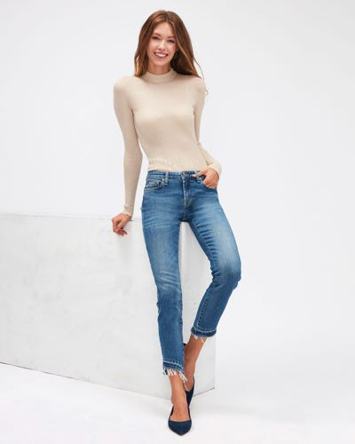 PYPER CROP SLIM ILLUSION REALITY WITH UNROLLED DIAGONAL HEM