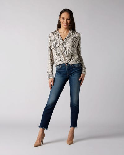 7 For All Mankind - Mid Rise Roxanne Crop En Route With Distressed Hem