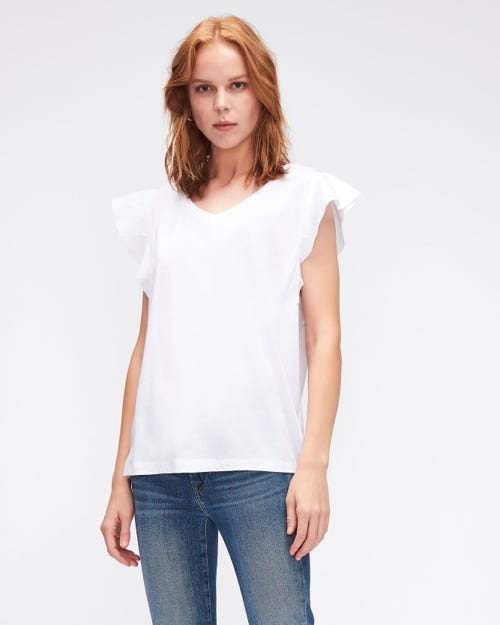 RUFFLE V NECK TEE CUTIL RUFFLE ON SLEEVES WHITE