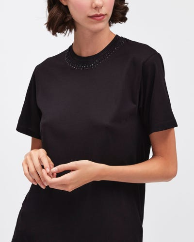 STUDDED TEE CUTIL BLACK WITH STUDS & BEADINGS