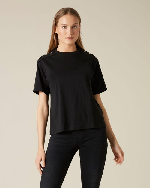BUTTONED TEE BUTTONS COTTON BLACK