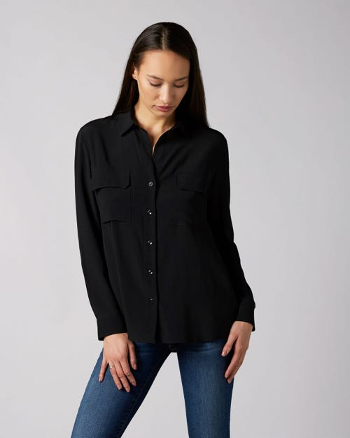 V-NECK SHIRT VISCOSE SILK BLACK