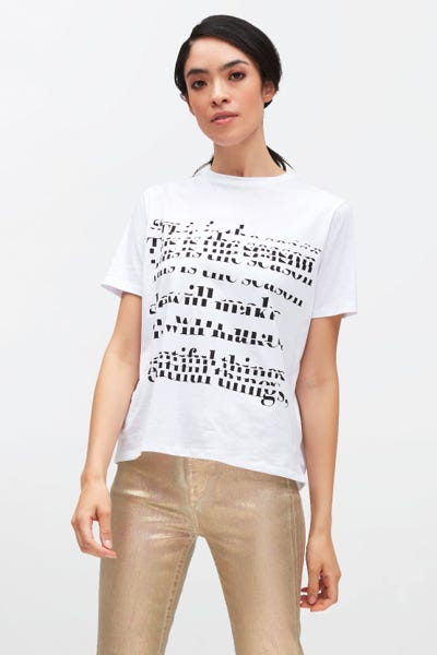 GRAPHIC TEE COTTON WITH BLACK MESSAGE WHITE