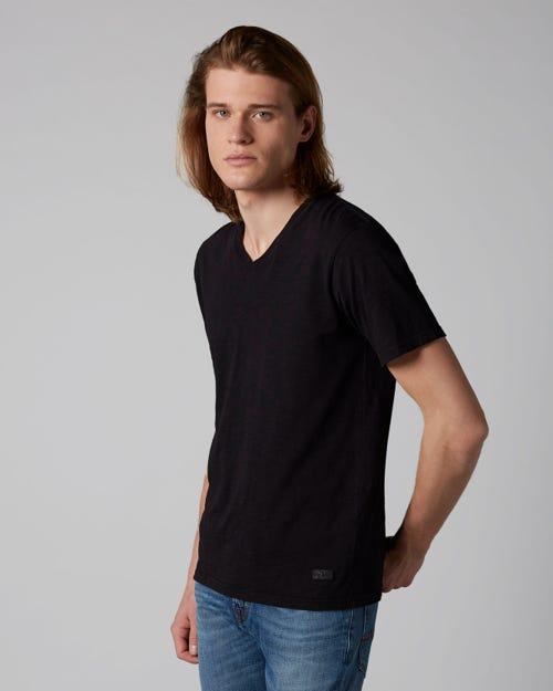 7 For All Mankind - V-Neck T-Shirt Slub Black