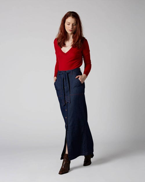 7 For All Mankind - Maxi Skirt Patriot With Buttons
