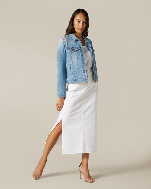 MAXI SKIRT UNROLLED PURE WHITE WITH OUTSEAM SLITS