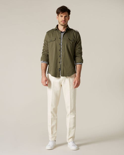 SLIMMY CHINO COTTON LINEN ECRU WITH CENTER CREASE